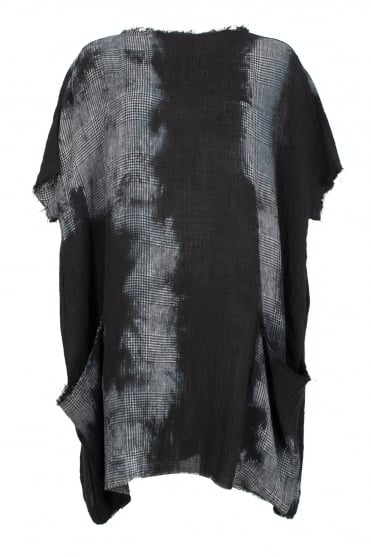 Abstract Loose-Fit Linen Tunic Dress